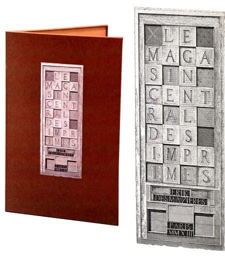 Érik Desmazières - Portfolio cover, with etched Étiquette