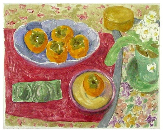 Janet Yake - Blue Bowl with Persimmons