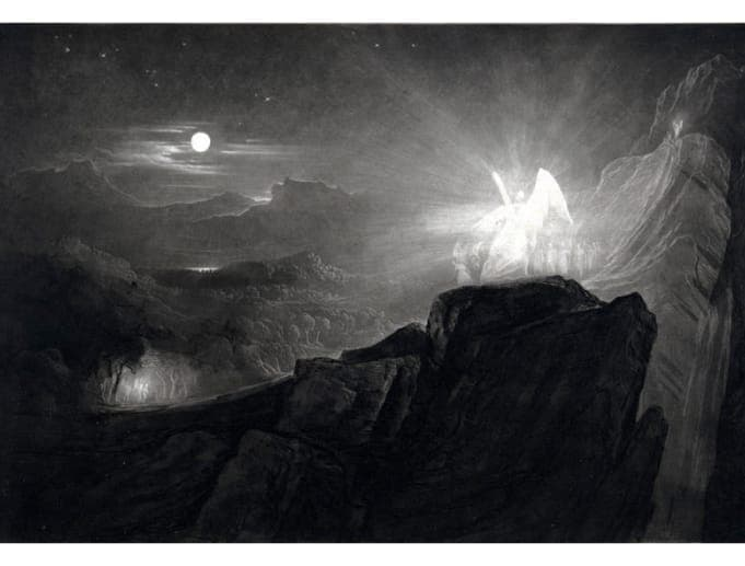 John Martin - The Angels Guarding Paradise at Night