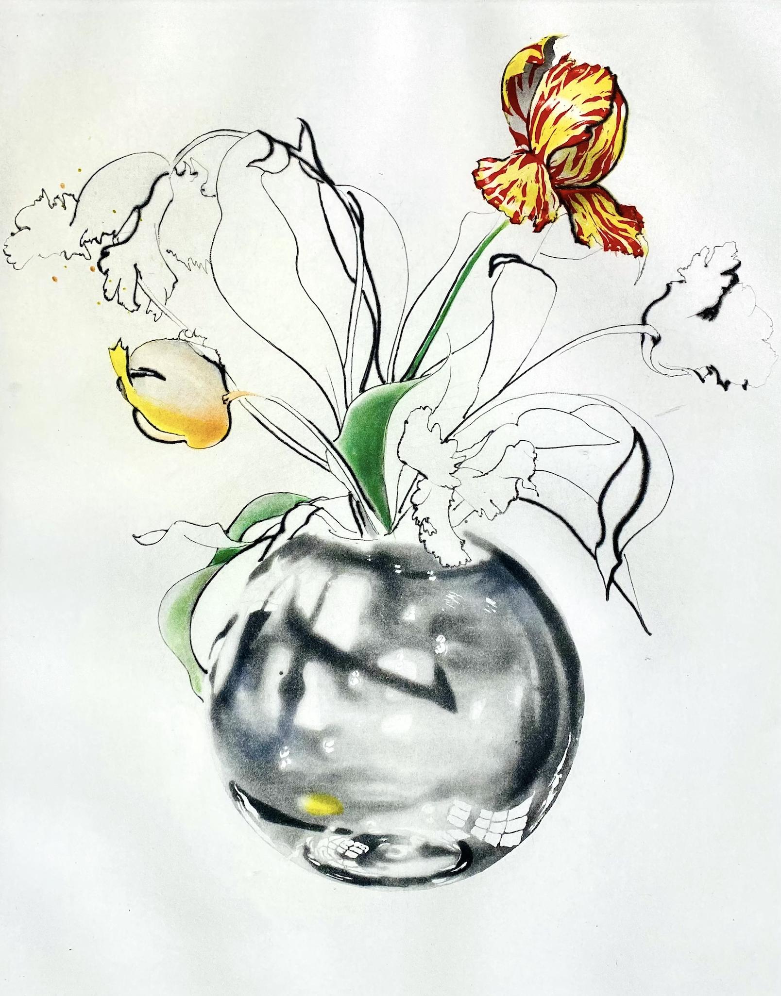 Joseph Goldyne Crystal, Water and Tulips (Hide and Seek)