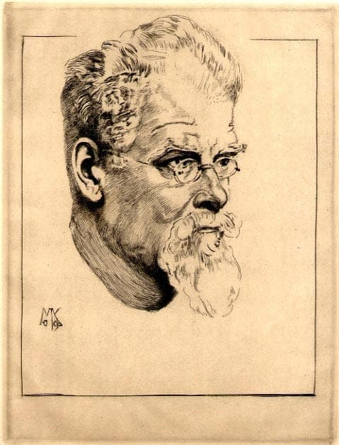 Max Klinger - Selbstbildnis mit brille, nach halbrechts