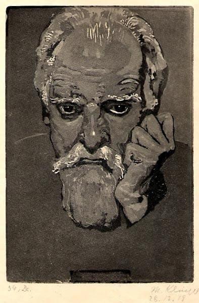 Max Klinger - Selbstbildnis von vorne mit auf die geballte Hand gestütztem Kopf